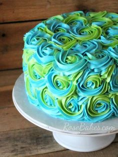 Turquoise & Lime Green Swirled Buttercream Roses Cake. This would be adorable to serve at a 1st birthday party!