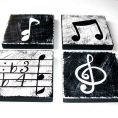 Music Inspired Black and White Wall Art by WhimsicalArtBlocks