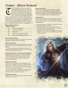 dungeons and dragons Homebrewing Moon Domain Dungeons And Dragons Races, Dungeons And Dragons Classes, Dungeons And Dragons Characters, Dungeons And Dragons Homebrew, Dnd Characters, Dnd Cleric, Paladin, Cleric Domains, Rpg Map