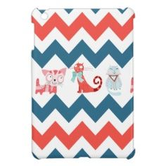 Colorful Kitty Cats and Blue and Coral Chevron Stripes iPad Mini Case #zazzle #ipadmini
