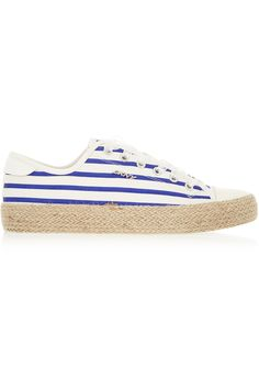 DKNY Barbara Striped Canvas Sneakers. #dkny #shoes #sneakers