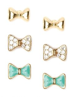 bow earring trio from baublebar... too cute!