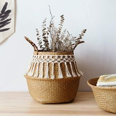 Nordic Minimalist Seagrass Basket With Macrame Boho Decor Collapsible Container Nordic Minimalist Seagrass Basket Mit Makramee Boho Decor Faltbehälter Belly Basket, Macrame Design, Décor Boho, Boho Style, Rattan Basket, Picnic Baskets, Macrame Projects, Macrame Patterns, Basket Decoration