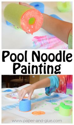 Noodle Painting Process Art Pool Noodle Painting- Fun summer process art activity for preschool, kindergarten, and elementary kids.Pool Noodle Painting- Fun summer process art activity for preschool, kindergarten, and elementary kids. Toddler Art, Toddler Crafts, Preschool Crafts, Toddler Activities, Toddler Snacks, Crafts For Kids, Preschool Planner, Summer Activities For Toddlers, Crafts Cheap