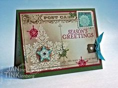 Jan's awesome vintage card: Bright & Beautiful, Postcard, A Round Array, Star framelits, & more. All supplies from Stampin' Up!