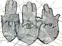 Hamsa Symbol Art Print / Judaica Art / Black by AshleyGrebeArt