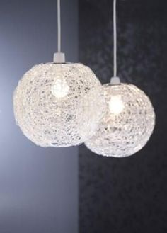Ceiling Lightshade/Pendant - Metal Wire Ball/Glass Beads - Silver Effect - 24cm