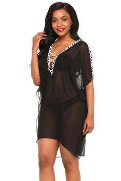 af31ce34e31 Black Sheer Mesh Her Fashion Cold Shoulder Embroidery Cover Up