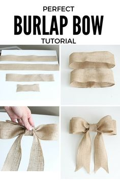 PERFECT Burlap Bow Tutorial I had no idea how to make bows before this. Super clear, step-by-step directions and pictures.Welcome to Ideas of Simply Sweet DIY Burlap Bow article. In this post, you'll enjoy a picture of Simply Sweet DIY Burlap Bow des Burlap Projects, Craft Projects, Craft Ideas, Decor Ideas, Craft Tutorials, How To Make Diy Projects, Sewing Projects, Sewing Tips, Decorating Ideas