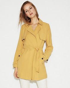 soft self-tie waist trench coat