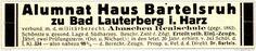 Original-Werbung/ Anzeige 1915 - ALUMNAT  BAD LAUTERBERG IM HARZ / HAUS BARTELSRUH - ca. 115 x 20 mm