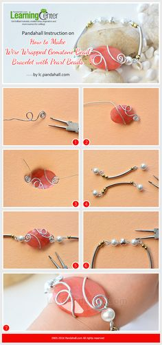 #Beebeecraft-Instruction-on-How-to-Make-#WireWrapped #Gemstone-Bead-#Bracelet-with-Pearl-Beads