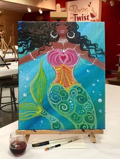 """Make a splash with """"Caribbean Mermaid"""" and paint it in one of our paint and sip art studios! We love mermaids! Mermaid Canvas, Mermaid Art, Mermaid Paintings, Tattoo Mermaid, Vintage Mermaid, Mermaid Tails, Canvas Painting Tutorials, Diy Painting, Painting & Drawing"""