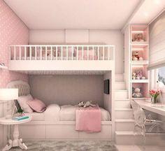 Warm Bedroom, Room Design Bedroom, Girl Bedroom Designs, Girls Bedroom, Girl Rooms, Girls Bunk Beds, Bedroom Small, Bedroom Colors, Decoration Bedroom