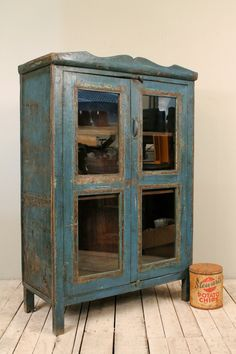 Vintage Distressed Dark Blue Paint Rustic by hammerandhandimports, $799.00