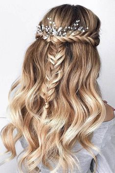 wedding hairstyles half up half down with curls and braid elegant accesorie samo. - wedding hairstyles half up half down with curls and braid elegant accesorie samoylenko_makeup via i - Wedding Hairstyles Half Up Half Down, Braided Hairstyles For Wedding, Elegant Hairstyles, Bridal Hairstyles, Half Up Half Down Bridal Hair, Hairstyles For Dances, Braid Half Up Half Down, Updo Hairstyle, Down Hairstyles For Homecoming