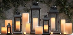 6 Fresh Design Ideas For Festive Lanterns: Create a chic, contemporary tableau by placing classic picks like these Restoration Hardware lanterns alongside tall, matching pillar candles with varying heights. Floor Lanterns, Lanterns Decor, Candle Lanterns, Candle Sconces, Metal Lanterns, Large Lanterns, Diy Design, Design Ideas, Restoration Hardware Lighting
