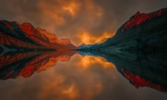 Saint Mary Lake at Sunset by Angela Chong