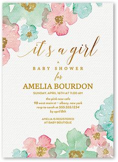 Blooming Floral Arrival 5x7 Baby Shower Invitations