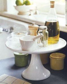 cake platter next to sink | cake pedestal idea, next to sink or stove. | Cake Stands & Pedestals