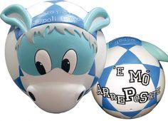 """CIUCCIO LAMPADA ARREPOSATE PALLA  Lampada da tavolo in resina a forma di palla nei colori azzurro e bianco-raffigura un asinello Forza Napoli, con scritta E mvɬ= arreposate"""""""""""