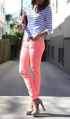 Neon Coral Jeans