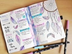 dream catcher bullet journal inspiration Thinking about creating something more BoHo for your bullet journal? These Dream Catcher Bullet Journal ideas will take it to the next level! January Bullet Journal, Bullet Journal Notebook, Bullet Journal Layout, Bullet Journal Inspiration, Bullet Journal Yearly Spread, Bullet Journal Birthday Tracker, Bullet Journal Ideas Templates, Bullet Journal Savings Tracker, Crea Fimo