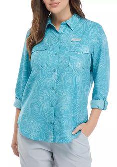 Ocean & Coast® Long Sleeve Printed Fishing Shirt | belk Fishing Shirts, Fun Prints, Pocket Detail, Convertible, Coast, Tunic Tops, Ocean, Turquoise, Hiking Outfits