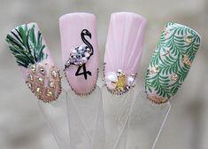Tropical Gel Artificial Nail Art - Home Nail Art Designs, Acrylic Nail Designs, Acrylic Nails, Cute Nails, Pretty Nails, Hair And Nails, My Nails, Pineapple Nails, Flamingo Nails