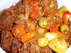 Beef Kaldereta is a main stay in any Filipino Kitchen. It is a type of beef stew cooked with tomato sauce and liver spread. Filipino Christmas Recipes, Filipino Recipes, Asian Recipes, Crockpot Recipes, Cooking Recipes, Healthy Recipes, Ethnic Recipes, Filipino Dishes, Asian Foods