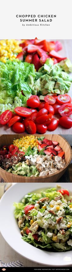 @moniquevolz took simple, fresh ingredients—lettuce,  avocado, tomatoes, sweet corn, and grilled chicken—and added a handful of fresh strawberries, chopped pecans, and crumbled feta to create a Southwest-inspired salad.