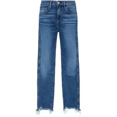 3X1     W3 Straight Cropped Jeans (840 BRL) ❤ liked on Polyvore featuring jeans, pants, denim, light wash, straight leg jeans, 3x1 jeans, light wash jeans, straight-leg jeans and blue denim jeans
