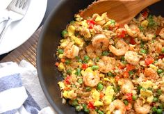 """Paleo Shrimp Fried """"Rice - you can substitute chicken for the shrimp or use both ;)"""