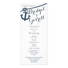 Anchor and Rope Wedding Program Rack Card Template