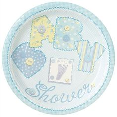 """9"""" Blue Cute as a Button Baby Shower Dinner Plates, 8ct"""