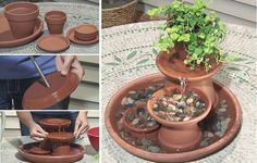 With just a few unused Terra Cotta flower pots, you can create a nice, relaxing fountain for yo. With just a few unused Terra Cotta flower pots, you can create a nice, relaxing fountain for yo. Diy Water Fountain, Indoor Water Fountains, Pots D'argile, Clay Pots, Terra Cotta, Garden Art, Garden Design, Garden Ponds, Garden Projects