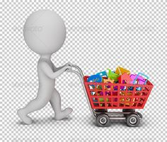3d small person with a cart buys mobile applications. 3d image. Transparent high resolution PNG with shadows.