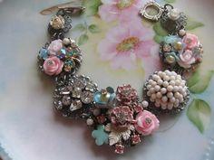 vintage assemblage old ooak rhinestone and flower jewelry bracelet