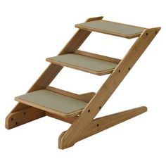 Richell Take 3-step Pet Stool - Bamboo
