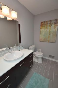 Transitional Powder Room with Serif Drop-In Bathroom Sink with Single Faucet Hole by Kohler, Limestone counters, Powder room Drop In Bathroom Sinks, Bathroom Kids, Bathrooms, Glass Bowl Sink, Stone Tiles, Bed & Bath, Kitchen And Bath, Kitchen Remodel, Tile Floor