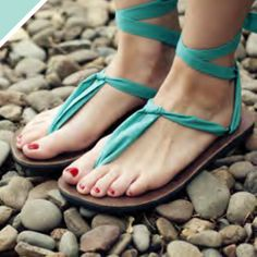 These sandals are called Ssekos and they not only benefit women in Uganda, you design your own lacing pattern. The site gives 10 different ways to lace them into the sole and tie them in MANY different ways! Lots of different color straps available, too. Perfect for us DIY lovers!