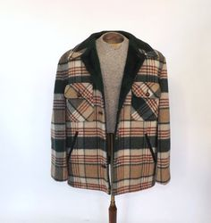 Vintage CPO Jacket    Label: Quality by Knapp  Era: 1970s  Tag size L  Wool blend  Plaid shell in maroon, cream, and green  Thick green lining