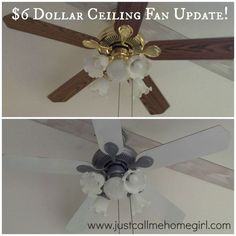 Little Brick House: Ceiling Fan Makeover. Little Brick House: Ceiling Fan Makeover Ceiling Fan . Home and Family Home Renovation, Home Remodeling, Painting Ceiling Fans, Paint Ceiling, Brass Ceiling Fan, Contemporary Ceiling Fans, Contemporary Art, Ceiling Fan Makeover, Home Upgrades
