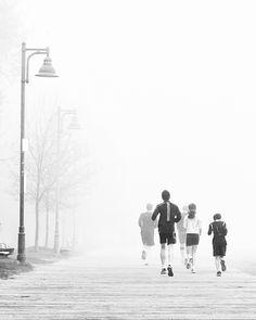 Morning Family Jog In The Fog   #blackandwhite #Toronto #photography
