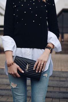 How to develop your personal Style - Outfit Inspiration - Jumper - Pearls - YSL Bag - white shirt - denim - Heels