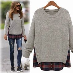 Autumn Winter Sweater Women 2017 New Spring Casual Fashion Knitted Solid Pattern Fake Two Pieces Pullover Sweaters Plus Size Look Fashion, Diy Fashion, Womens Fashion, Fashion 2015, Street Fashion, Sport Fashion, Spring Fashion, Fall Winter Outfits, Autumn Winter Fashion