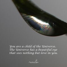 """""""You are a child of the Universe. The Universe has a beautiful eye that sees nothing but love in you."""""""