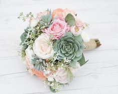 Wedding Flower Decoration Coral Peach Succulent Wedding Bouquet Silk Real Touch Wedding Flowers - Roses, Peonies Succulents Pi - A Perfect Natural Gathered Boho Real Touch Bouquet. Amazing mix of Silk Country Wedding Flowers, Cheap Wedding Flowers, Purple Wedding, Fox Wedding, Peach Bouquet, Peonies Bouquet, Silk Wedding Bouquets, Wedding Dresses, Succulent Bouquet