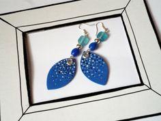 Cobalt blue drop dots dangle earrings hand illustrated handmade with moosgummi