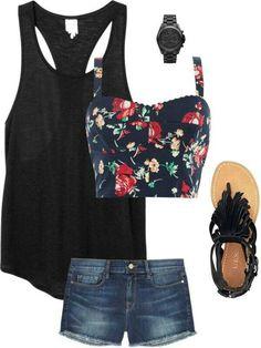 Floal Bralet, solid colored tank, fringe sandals, Jean shorts,  summer outfit